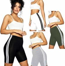 Womens Cotton Double Side Stripe Shorts Ladies Gym Sports Cycling Shorts Pants