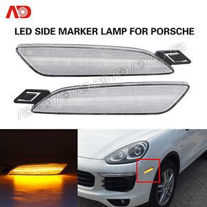 2PCS For Porsche Panamera 2014-2016 LED Side Marker Light Lamp Clear Lens Amber