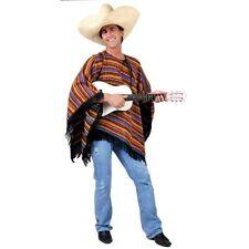CSW60 Mexican Poncho Multicolour Mens Fancy Dress Costume Wild West Amigo Cowboy