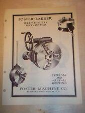 Vtg Foster Machine Co Catalog~Barker Chucks/Vises~Tools