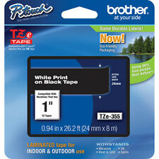 "Brother TZ355 1"" white on black TZ tape PT2430PC PT2730VP PT2730 PT9600 PT1400"