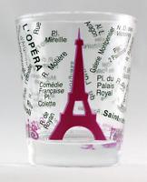 PARIS FRANCE EIFFEL TOWER AND MAP PINK SHOT GLASS SHOTGLASS