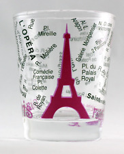 PARIS FRANCE EIFFEL TOWER AND MAP PINK SHOT GLASS SHOTGLASS