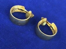 VINTAGE SIGNED DIRECTION ONE GOLD TONE HOOP  CLIP  BACK  EARRINGS
