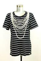 KARL LAGERFELD PARIS Gold Chain Stripe Graphic Tee Shirt Designer T-Shirt LARGE