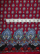 "Burgundy & Blue Border Print Paisley Viscose Fabric 56"" Wide Soft & Drapey"