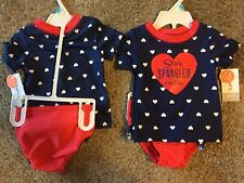 CARTERS GIRLS 6 MONTHS 2 PC SHORT SLEEVE STAR SPANGLED CUTIE BATHING SUIT NWTS