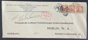 1908 New York USA Prussian Life Insurance Commercial Cover To Berlin Germany