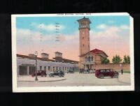 1946 Union Station Dayton Ohio Postcard - Clock Tower Cars In Parking Lot