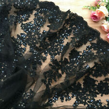 "1Yard Black Sequins Flower Embroidered Eyelash Lace Fabric Bridal Dress 51"" Wide"