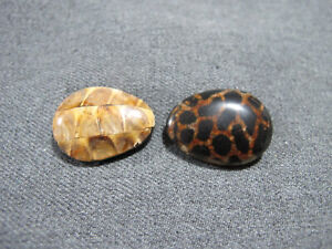 2 Vintage inlaid resin beehive & seed pod side drilled beads for jewelry making