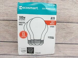 EcoSmart 100W Replacement A19 Dimmable Light Bulb 72W Incandescent 4 Pack