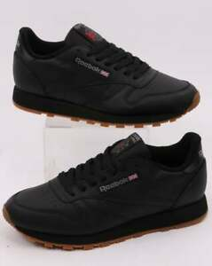 Reebok Classic Leather Trainers in Black & Gum Sole (UK Sizes)