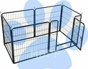Heavy duty 6pc dog puppy play pen whelping cage rabbit guinea pig (optional bed)