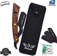 WOODEN BARBER HAIR SALON STRAIGHT CUT THROAT SHAVING RAZOR SHAVETTE+ FREE BLADE