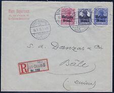 "=== DR Landespost Belgien Mi. 14a/16bI/18a auf Brief ""Sint-Gillis"", Kat. 412€ =="