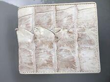 Portefeuille d'hommes blancs bifold 100 % crocodile véritable peau en cuir
