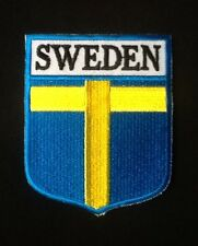 SWEDEN SWEDISH CROSS COUNTRY FLAG BADGE IRON SEW ON PATCH EUROPE CREST