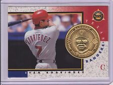 """RARE 1998 PINNACLE MINT IVAN """"PUDGE"""" RODRIGUEZ GOLD PLATED COIN & CARD #20"""