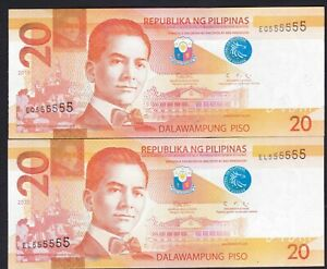 Philippine 20 Pesos NGC Solid serial 555555 (2019 + 2020 ) 2 banknotes Unc