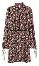 H&M Kleid aus luftigem Chiffon, Schwarz mit Blumen, Gr. 34