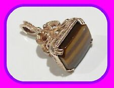HEAVY 7.2G SOLID 9CT GOLD VINTAGE TIGERS EYE ENGLISH FOB/SEAL PENDANT 1972 UK HM