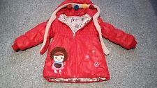 """Lacey Stronach happy kids red hooded waterproof lined coat with detail 26"""" chest"""