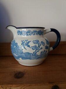 Vintage enamel ware willow pattern jug