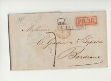 1855 GERMANY TRADE Folded Letter BERLIN-BORDEAUX-France+RED Boxed PR.3R-N481