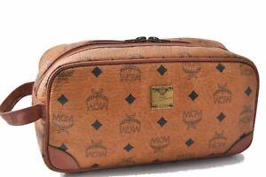 Authentic MCM Cognac Visetos Leather Vintage Clutch Hand Bag Brown D4308