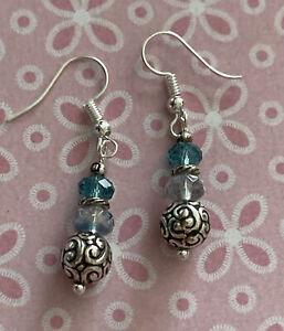 Brighton LATIKA Light Blue Aqua Crystal Silver Scrollwork Beads Custom Earrings