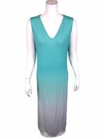 Elizabeth & Clarke Women's Dip-Dye Maxi Dress with StainTech Mint Large Size