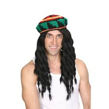 Lujo Punto Sombrero Rasta & Peluca Hombre Jamaicana Fiesta de Disfraz