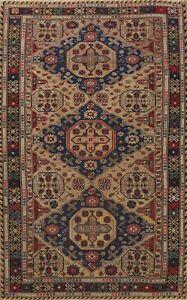 Vintage Geometric Sumak Russian Area Rug Handmade Geometric Oriental Wool 7x10