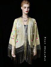 Embroidered Silk Fringe Jacket Flamenco Kimono VANILLA MULTI Short Maya Matazaro
