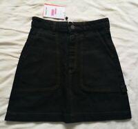 MONKI Women's Black Denim Contrast Stitch Mini Skirt Size EU 36 New With Tags