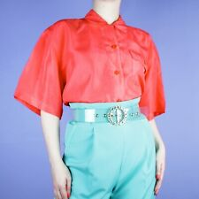 VINTAGE 80s 90s Silk Neon Pink Grunge Disco Fluorescent Shirt Blouse Top M 12 14