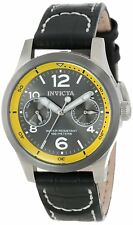 New Womens Invicta 14143 I-Force Charcoal Dial Black Leather Military Watch