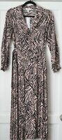 Topshop Blush Pink Black Zebra Print Pleated Belted midi Shirt Dress size 10