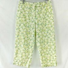 Liz Claiborne Cotton Floral Capri Pants | Color: Blue/Green | Size: 8