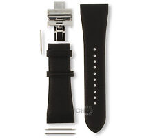 Replacement Strap for Armani AR2006 Black Genuine Leather With Free Pins