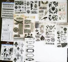 Huge Rubber Clear Cling Stamp Scrapbooking Lot Tim Holtz Recollections Fiskars