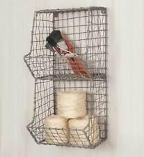 Wire Wall Basket Bins Storage Organizer Hanging Mounted Vintage Rustic Decor New