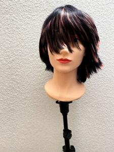 Modern Short Bob Emo Cut Wig, Black with Highlights
