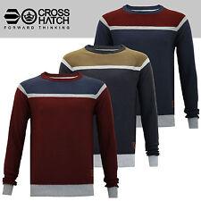 Men's New Crosshatch Striped Cotton Crew Knit Stripe Sweater Pullover