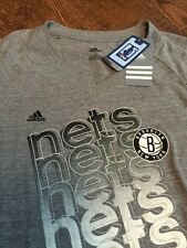 NEW adidas Womens NBA 4 Her Brooklyn Nets Blend V-Neck T-Shirt Top Tee L Grey