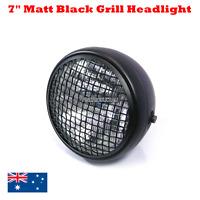 "Matt black Grill 7"" headlight Harley chopper bobber cafe racer custom projects"