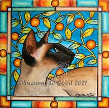 Siamese Cat art painting on canvas seal original hand painted by Suzanne Le Good