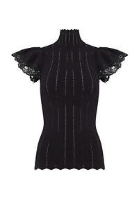 Rebecca Taylor Women's Blouse Black Size Medium M Pointelle Lace $350- #032
