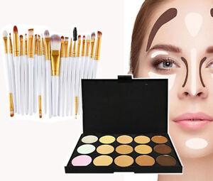 Glamza 20pc White Eye And 15pc Contour Pallet Eye Face Makeup Brush Set Kit